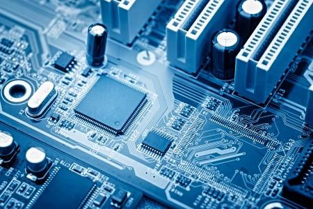 circuitry: close-up of electronic circuit board with processor