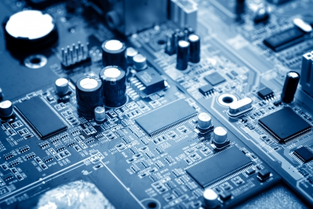 components: close-up of electronic circuit board with processor
