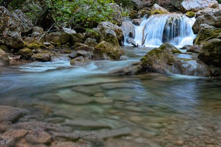 running water: mountain river in the forest
