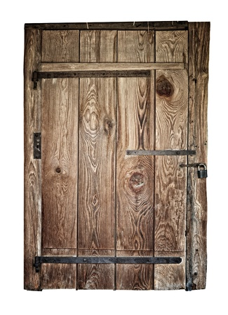 vintage wooden door on the white background photo