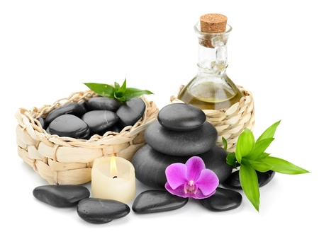 zen basalt stones and orchid Stock Photo - 14391772