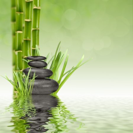 guadua: zen piedras de basalto y de bamb� en el agua Foto de archivo