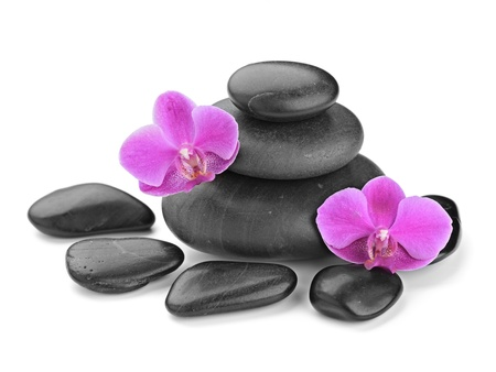 zen basalt stones and orchid isolated on white Stock Photo - 14391811