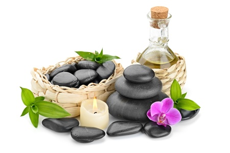 fengshui: zen basalt stones and orchid Stock Photo