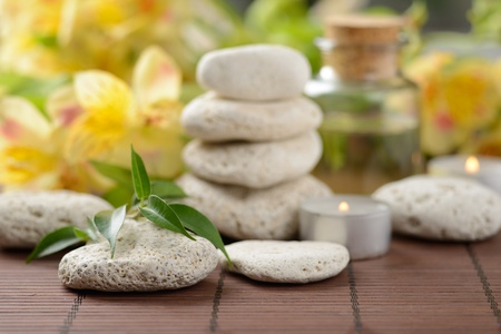zen  stones and plants on the wooden mat photo