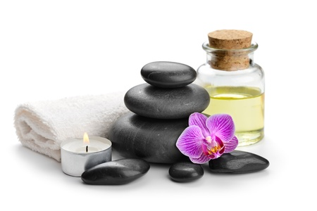 alternative wellness: zen basalt stones and orchid Stock Photo