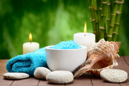spa composition with shell and toning sea crystals Stock Photo - 15935909