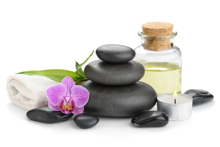 zen basalt stones and orchid Stock Photo