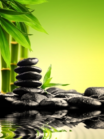 zen water: zen basalt stones and bamboo