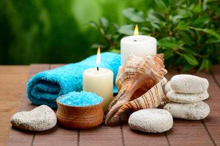 crystal therapy: spa composition with soap and toning sea crystals Stock Photo