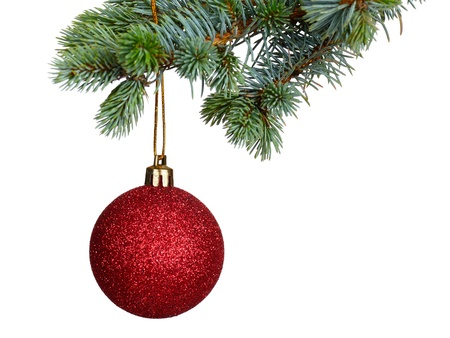 christmas ball isolated: Merry Christmas and Happy New Year Stock Photo
