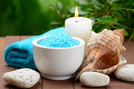 spa composition with soap and toning sea crystals Stock Photo - 16310680