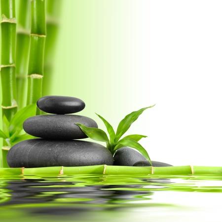 zen rocks: zen basalt stones and bamboo