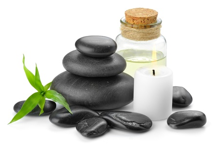 white pebble: zen basalt stones and orchid Stock Photo