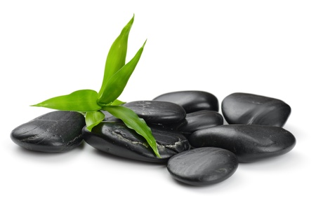zen basalt stones and bamboo on the white Stock Photo - 17121241