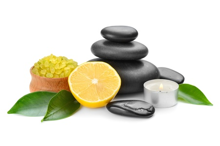 spa composition with stones and toning lemon crystals photo