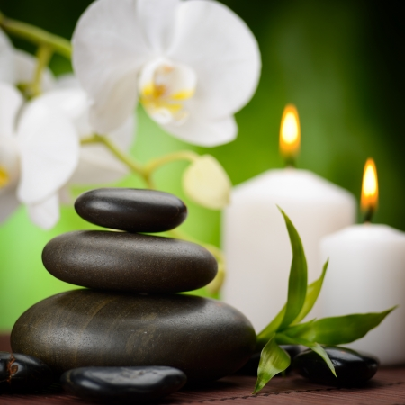 zen basalt stones and orchid on the wood Stock Photo - 17121235