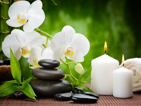 zen basalt stones and orchid on the wood Stock Photo - 17457703