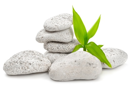 zen  stones and bamboo on the white Foto de archivo