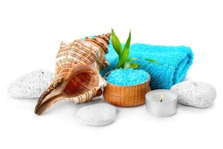 white pebble: spa composition with soap and toning sea crystals Stock Photo