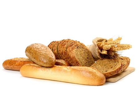 bakery products: fresh bread  on the white background
