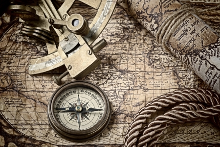 vintage  still life with compass,sextant and old map Stock Photo - 18232883