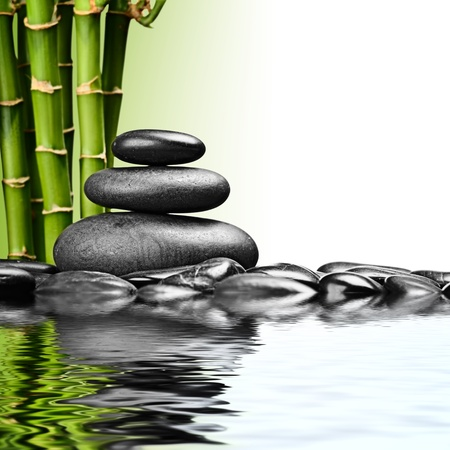zen basalt stones and bamboo on the white photo