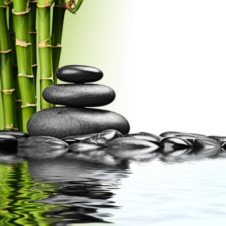 zen basalt stones and bamboo on the white Stock fotó