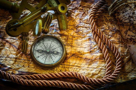 vintage  still life with compass,sextant and old map Stok Fotoğraf