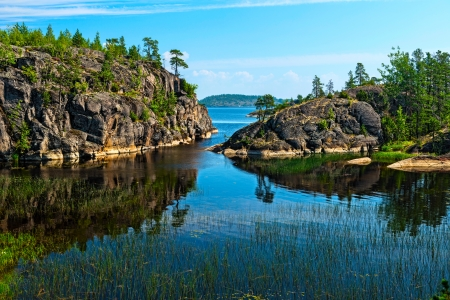 rocky islands of Ladoga lake photo