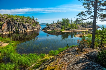 ラドガ湖の岩の島 写真素材