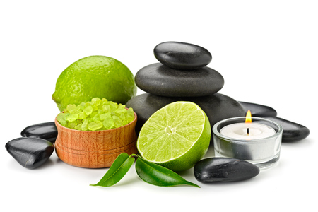 toning: spa composition with lime and toning sea crystals Stock Photo