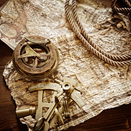 old document: vintage  still life with compass,sextant and old map Stock Photo