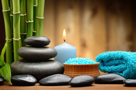 crystal therapy: zen basalt stones and tonung sea crystals on the wood