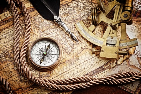 vintage  still life with compass,sextant and old map Zdjęcie Seryjne