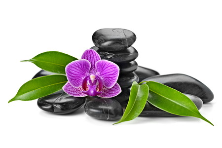 zen basalt stones and orchid isolated on white 写真素材