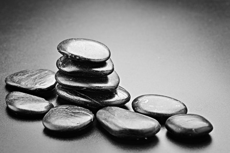 japanesse: zen stones on the black
