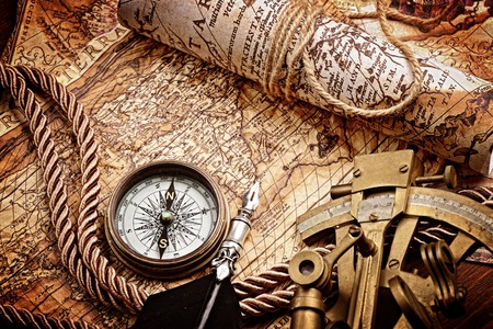 vintage  still life with compass,sextant and old map 写真素材