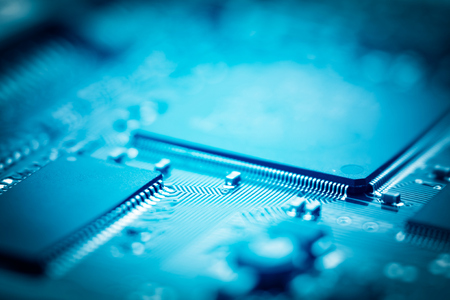 data processors: close-up of electronic circuit board with processor