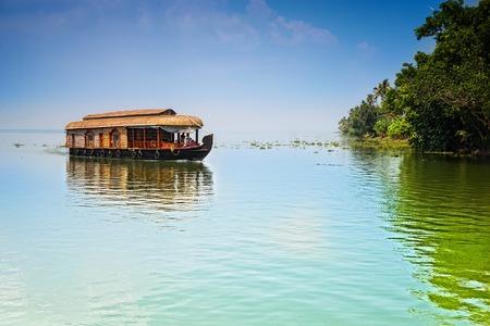 Traditional Inian house boat .Kerala 写真素材