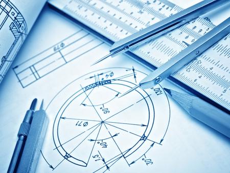 drafting tools: industrial drawing detail and several drawing tools