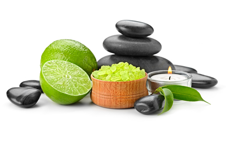 stone bowl: spa composition with lime and toning sea crystals Stock Photo