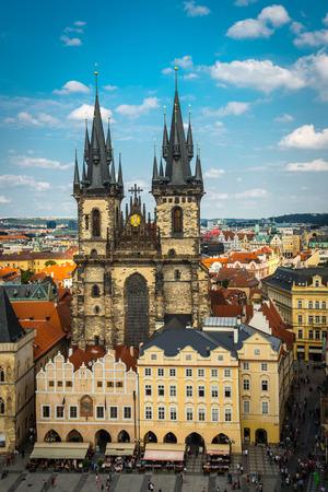 tynsky church: view on the Prague ,Charles bridge Editorial