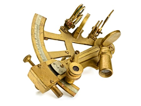 old bronze sextant on the white background 写真素材