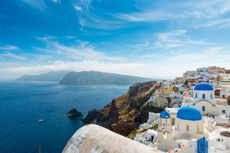 caldera: the famous blue and white city Oia,Santorini Stock Photo