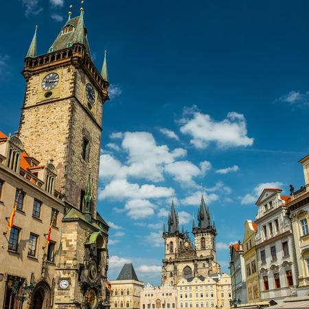 old town square: Tyn cathedral church and famous Astronomical Clock, Prague, Czech Republic