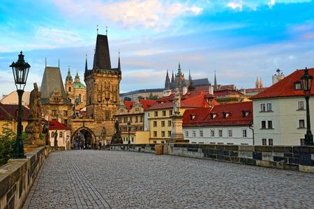 st charles: view on the Prague ,Charles bridge ,Lesser Bridge Tower Editorial