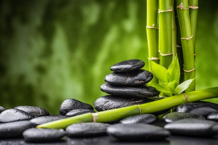 bamboo therapy: zen basalt stones and bamboo on the black
