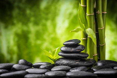 stone heap: zen basalt stones and bamboo on the black
