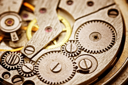 watch movement: rusty mechanism in the old clock